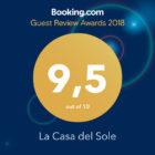 Booking Guest Award 2018 alla Casa del Sole! Oggi il punteggio è salito ancora la valutazione dei nostri ospiti è di 9,6 !!